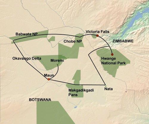 De Wildernis van Botswana & Zimbabwe kaart