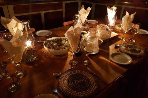 Greenfire Lodge Drakensberg blokhut maaltijd