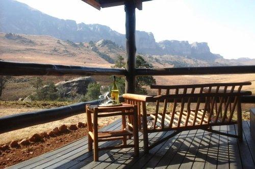 Greenfire Lodge Drakensberg uitzicht vanaf blokhut terras