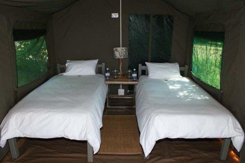 Drifters Maun Lodge tent binnen