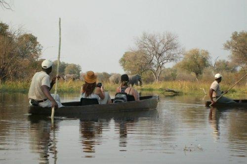 Sango Safari Camp mokoro langs olifanten