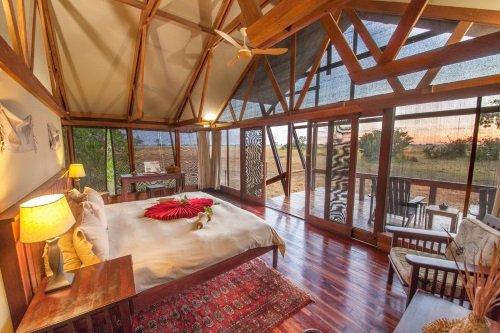 Kwando Lebala Camp tent binnen met uitzicht