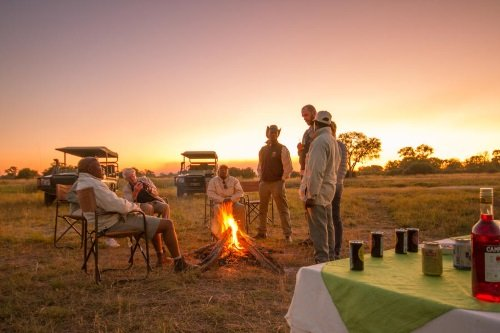 Kwando Lebala Camp gamedrive sundowner